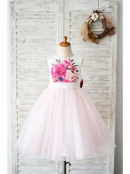 Ball Gown Knee Length Wedding / Birthday Flower Girl Dresses - Tulle Sleeveless Jewel Neck With Bow(S)_1