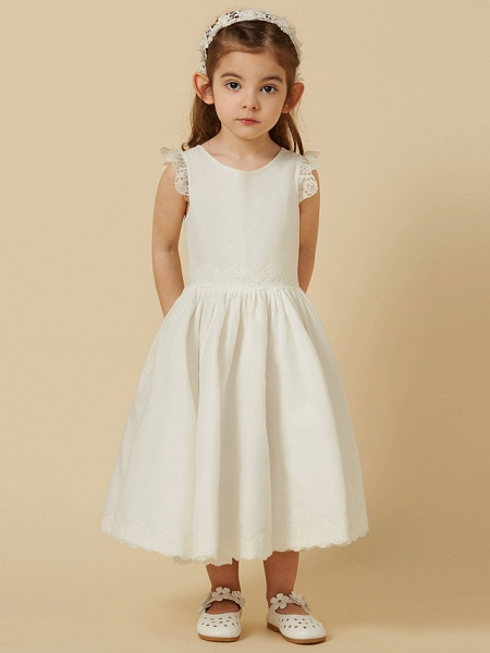 Princess Knee Length Wedding / First Communion Flower Girl Dresses - Lace / Cotton Sleeveless Scoop Neck With Pleats_5