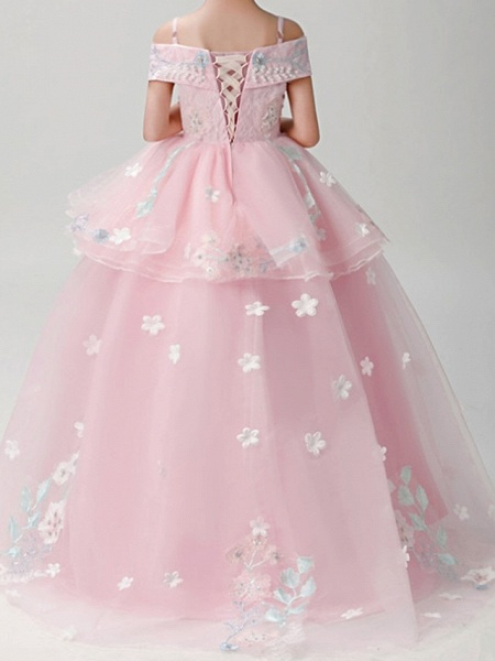 Ball Gown Sweep / Brush Train Pageant Flower Girl Dresses - Polyester Short Sleeve Spaghetti Strap With Appliques_6