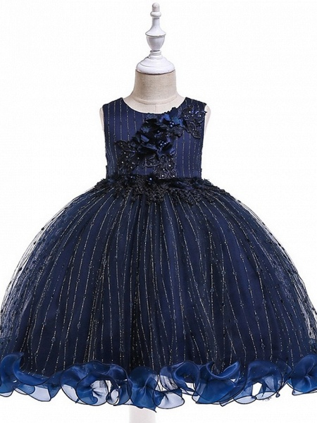 Princess / Ball Gown Knee Length Wedding / Party Flower Girl Dresses - Tulle Sleeveless Jewel Neck With Bow(S) / Beading / Appliques_14