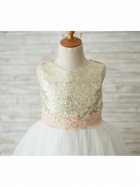 A-Line Knee Length Wedding / Birthday / Pageant Flower Girl Dresses - Tulle / Sequined Sleeveless Jewel Neck With Bows / Appliques_7