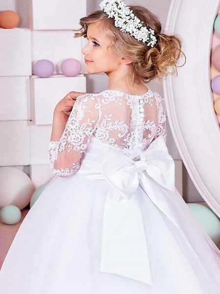 Princess / Ball Gown Floor Length Wedding / Party Flower Girl Dresses - Lace / Tulle Half Sleeve Jewel Neck With Sash / Ribbon / Bow(S) / Solid_3