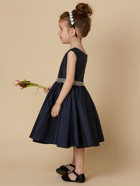 A-Line Knee Length Pageant Flower Girl Dresses - Taffeta Sleeveless Jewel Neck With Beading / Crystal Brooch_5