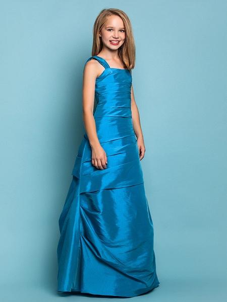 Princess / A-Line Straps Floor Length Taffeta Junior Bridesmaid Dress With Side Draping / Spring / Summer / Fall / Apple / Hourglass_2