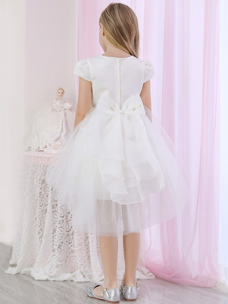 Princess / Ball Gown Medium Length Wedding / Event / Party Flower Girl Dresses - Satin / Tulle Cap Sleeve Jewel Neck With Beading / Appliques / Color Block_8