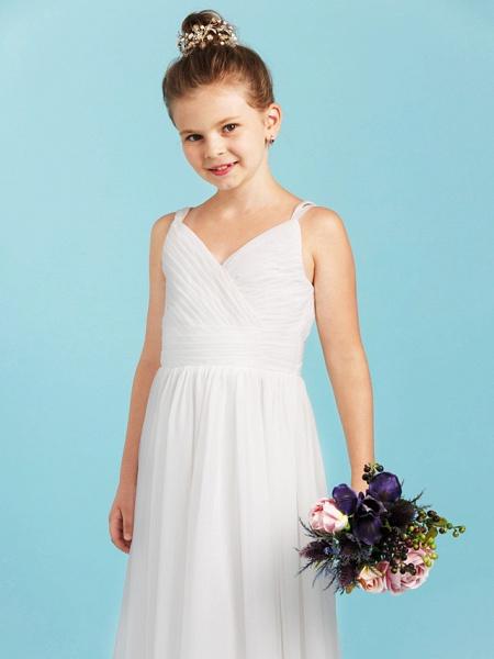 Princess / A-Line Spaghetti Strap Floor Length Chiffon Junior Bridesmaid Dress With Sash / Ribbon / Criss Cross / Wedding Party / Open Back_5