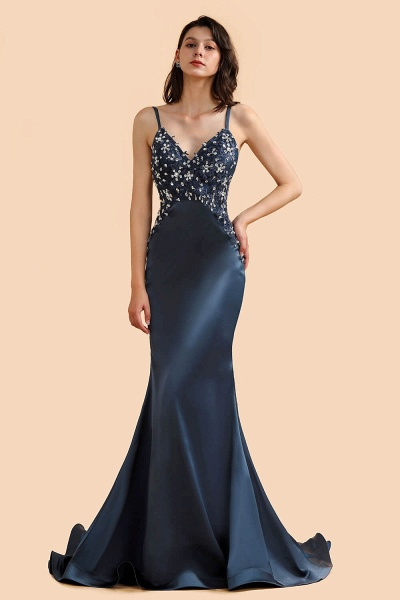 Spaghetti Strap Beaded Navy Blue Mermaid Backless Prom Dress_5