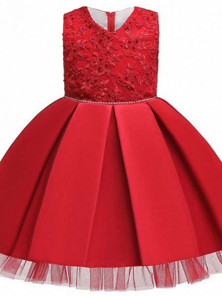 Princess / Ball Gown Knee Length Wedding / Party Flower Girl Dresses - Tulle Sleeveless V Neck With Sash / Ribbon / Bow(S) / Appliques_9
