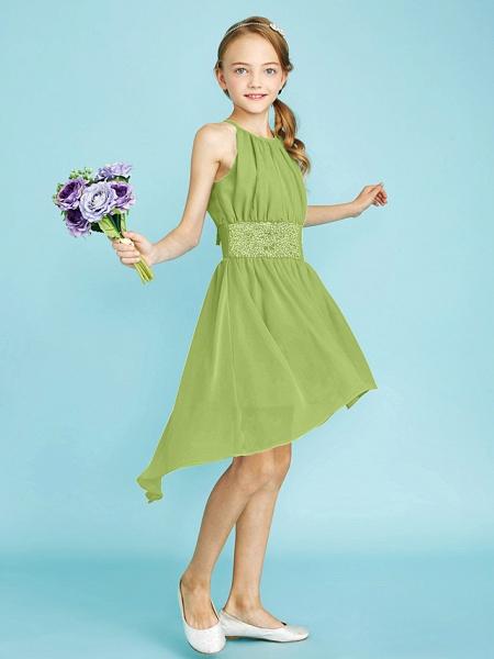 Sheath / Column Jewel Neck Asymmetrical Chiffon Junior Bridesmaid Dress With Sequin / Natural_44
