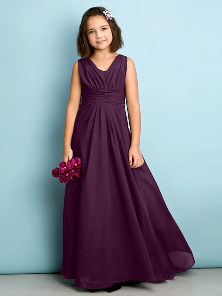 A-Line V Neck Floor Length Chiffon Junior Bridesmaid Dress With Criss Cross / Natural / Mini Me_16