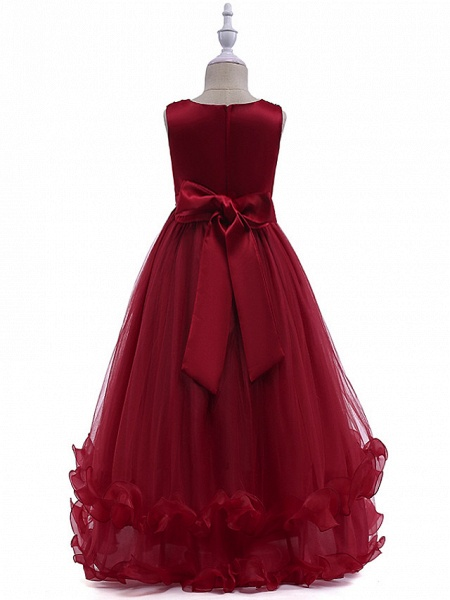 Princess Long Length Wedding / Party / Pageant Flower Girl Dresses - Lace / Tulle Sleeveless Jewel Neck With Crystals / Embroidery_4