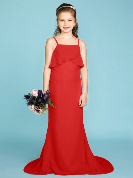 Sheath / Column Spaghetti Strap Sweep / Brush Train Chiffon Junior Bridesmaid Dress With Tiered / Wedding Party / Open Back_27