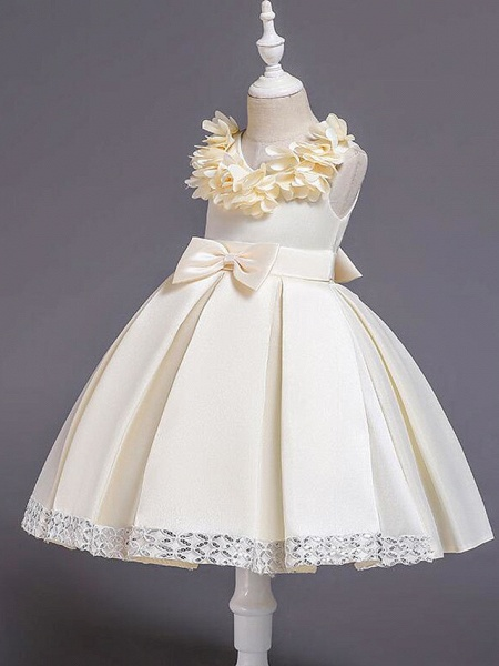 Princess Knee Length Wedding / Party / Pageant Flower Girl Dresses - Satin / Cotton Sleeveless Jewel Neck With Petal / Belt / Bow(S)_7
