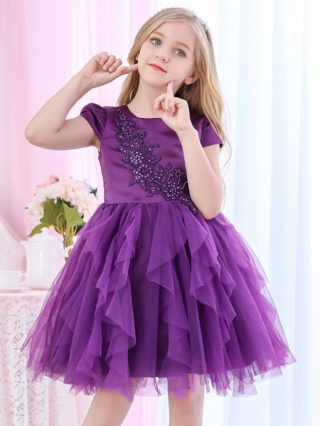 Princess / Ball Gown Royal Length Train / Medium Length Wedding / Event / Party Flower Girl Dresses - Satin / Tulle Cap Sleeve Jewel Neck With Beading / Appliques / Tiered_6