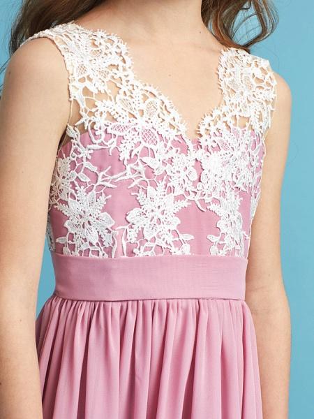 Princess / A-Line Queen Anne Floor Length Chiffon / Lace Junior Bridesmaid Dress With Lace / Sash / Ribbon / Pleats_9