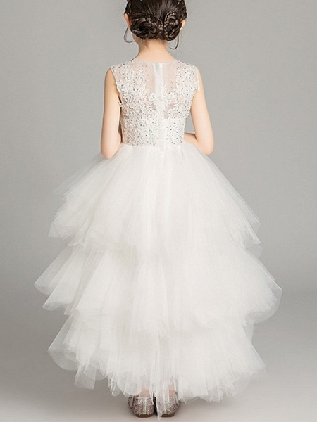 A-Line Asymmetrical Pageant Flower Girl Dresses - Tulle Sleeveless Jewel Neck With Tier / Appliques / Crystals / Rhinestones_4