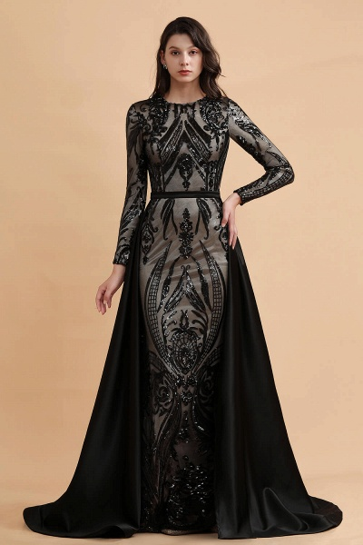 Luxury Black Round neck Sequined Detachable Overskirt Prom Dress