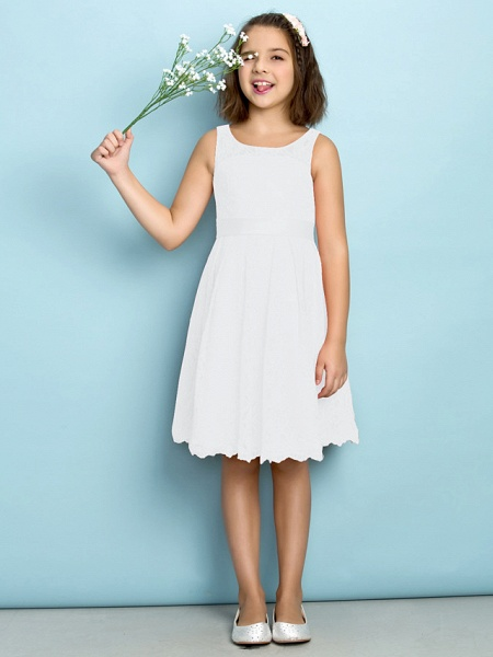 A-Line Scoop Neck Knee Length All Over Floral Lace Junior Bridesmaid Dress With Lace / Natural / Mini Me_18