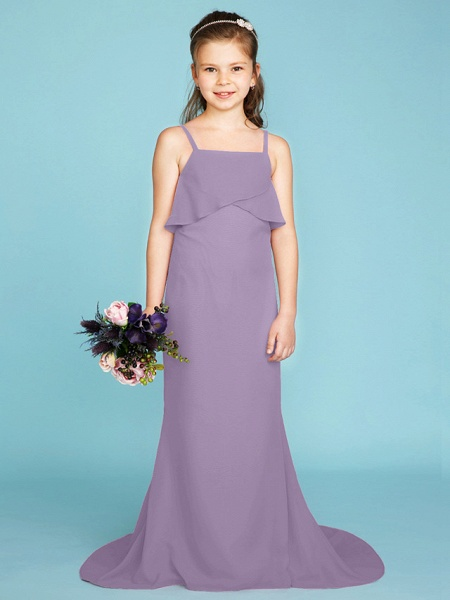 Sheath / Column Spaghetti Strap Sweep / Brush Train Chiffon Junior Bridesmaid Dress With Tiered / Wedding Party / Open Back_29