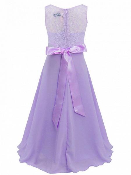 A-Line Floor Length Wedding / Party Flower Girl Dresses - Chiffon / Lace Sleeveless Jewel Neck With Sash / Ribbon_15