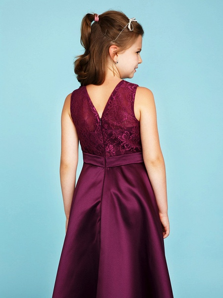 Princess / A-Line Jewel Neck Asymmetrical Lace / Satin Junior Bridesmaid Dress With Sash / Ribbon / Wedding Party / See Through_5