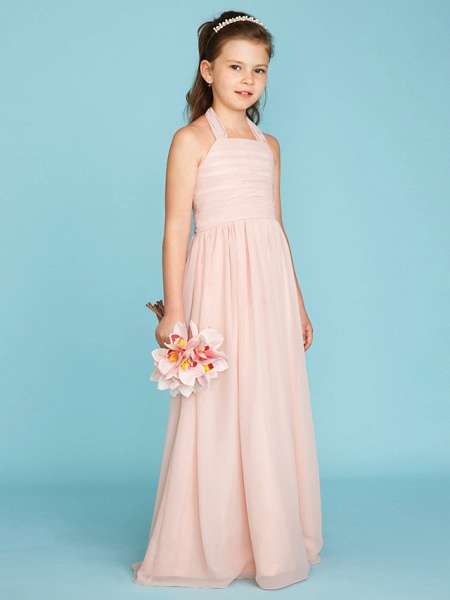 Princess / A-Line Halter Neck Floor Length Chiffon Junior Bridesmaid Dress With Pleats / Ruched_5