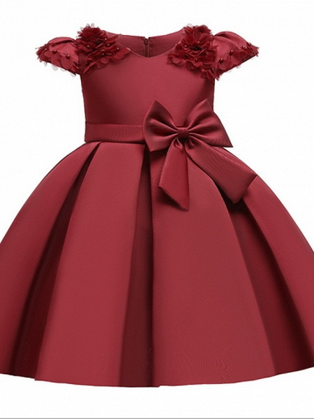 Ball Gown Ankle Length Pageant Flower Girl Dresses - Polyester Short Sleeve Jewel Neck With Bow(S) / Appliques_1