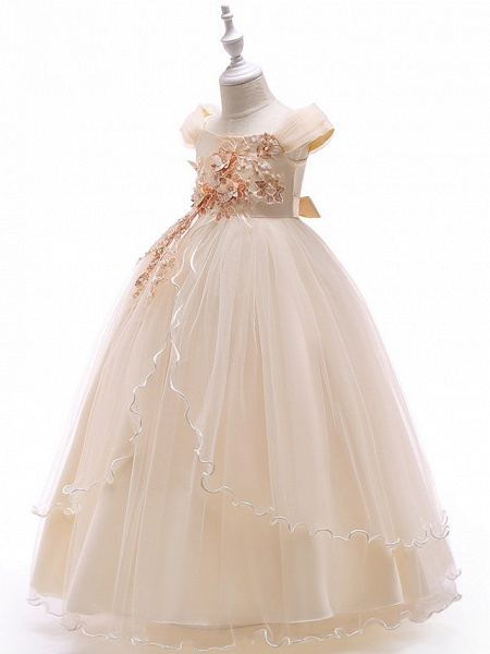 Ball Gown Floor Length Wedding / Party Flower Girl Dresses - Tulle Sleeveless Off Shoulder With Bow(S) / Solid / Tiered_11