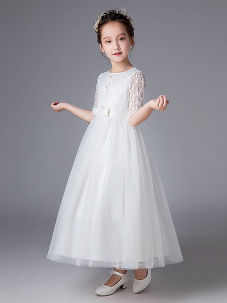 Princess Ankle Length Wedding / First Communion Flower Girl Dresses - Polyester Half Sleeve Jewel Neck With Lace_2