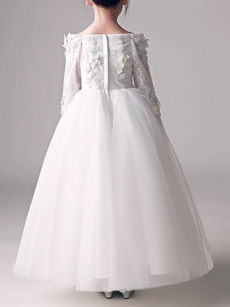 Ball Gown Floor Length First Communion Flower Girl Dresses - Polyester 3/4 Length Sleeve Off Shoulder With Appliques_4