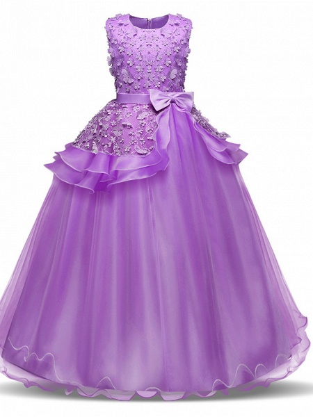 Princess Long Length Wedding / First Communion Flower Girl Dresses - Chiffon / Satin / Tulle Sleeveless Jewel Neck With Bow(S) / Tier / Appliques_2