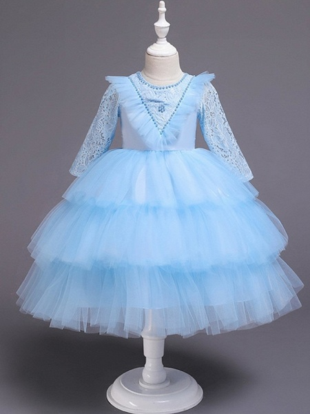 Princess / Ball Gown Knee Length Wedding / Party Flower Girl Dresses - Tulle 3/4 Length Sleeve Jewel Neck With Bow(S) / Beading / Cascading Ruffles_10