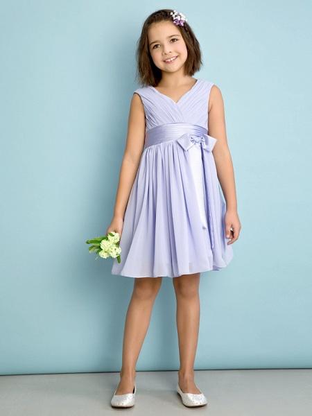 A-Line V Neck Knee Length Chiffon Junior Bridesmaid Dress With Bow(S) / Criss Cross / Natural_2
