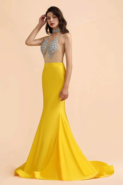 Mermaid Sexy Yellow Crystals Sheer Tulle Prom Dresses_4