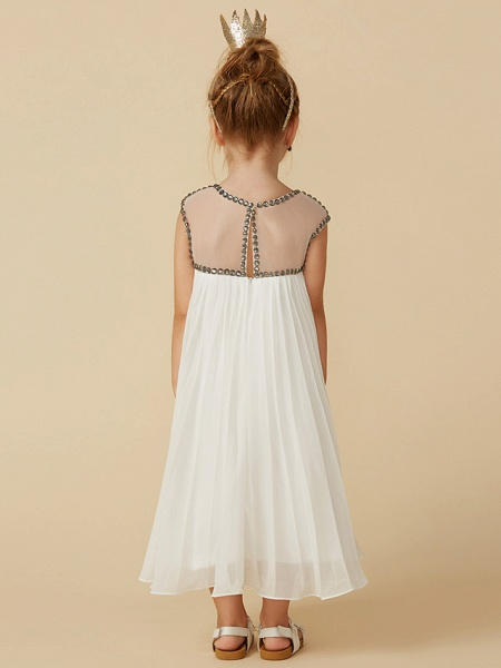 A-Line Tea Length Holiday Flower Girl Dresses - Chiffon Short Sleeve Jewel Neck With Beading_2