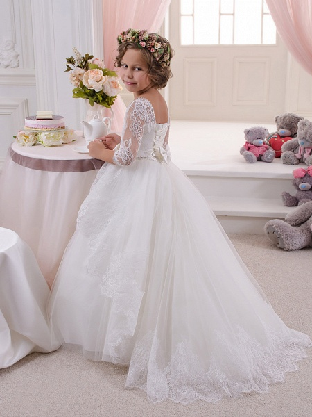 Ball Gown Sweep / Brush Train Wedding / Birthday / First Communion Flower Girl Dresses - Lace / Tulle / Cotton 3/4 Length Sleeve Scoop Neck With Lace / Embroidery / Crystals / Rhinestones_2