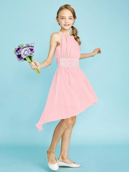 Sheath / Column Jewel Neck Asymmetrical Chiffon Junior Bridesmaid Dress With Sequin / Natural_23
