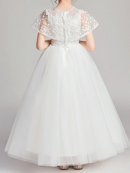 Ball Gown Ankle Length Pageant Flower Girl Dresses - Polyester Short Sleeve Jewel Neck With Appliques_6