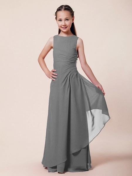 A-Line / Sheath / Column Bateau Neck Floor Length Chiffon Junior Bridesmaid Dress With Beading / Side Draping / Spring / Summer / Fall / Winter / Wedding Party_21