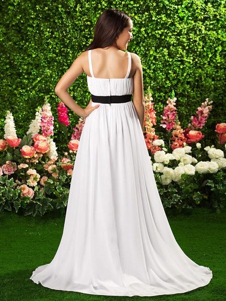 Sheath / Column Spaghetti Strap Sweep / Brush Train Chiffon Junior Bridesmaid Dress With Sash / Ribbon / Bow(S) / Draping / Empire / Spring / Summer / Fall / Apple_5