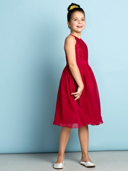 A-Line Jewel Neck Knee Length Chiffon / Lace Junior Bridesmaid Dress With Lace / Natural / Mini Me_4
