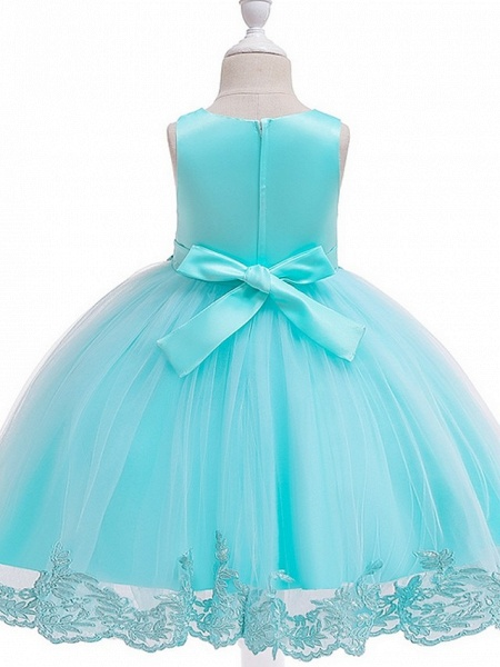 Ball Gown Knee Length Wedding / Party Flower Girl Dresses - Tulle Sleeveless Jewel Neck With Bow(S) / Appliques_13
