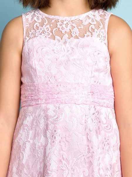 Sheath / Column Jewel Neck Floor Length Lace Junior Bridesmaid Dress With Lace / Natural / Mini Me_7