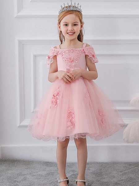 Princess / Ball Gown Knee Length Wedding / Party Flower Girl Dresses - Satin / Tulle Short Sleeve Off Shoulder With Sash / Ribbon / Bow(S) / Appliques_1