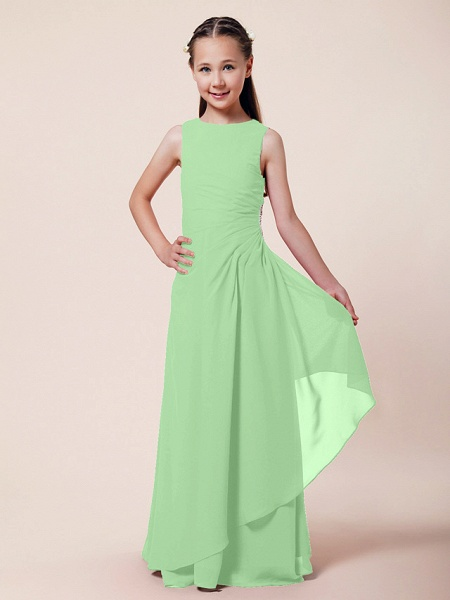 A-Line / Sheath / Column Bateau Neck Floor Length Chiffon Junior Bridesmaid Dress With Beading / Side Draping / Spring / Summer / Fall / Winter / Wedding Party_25