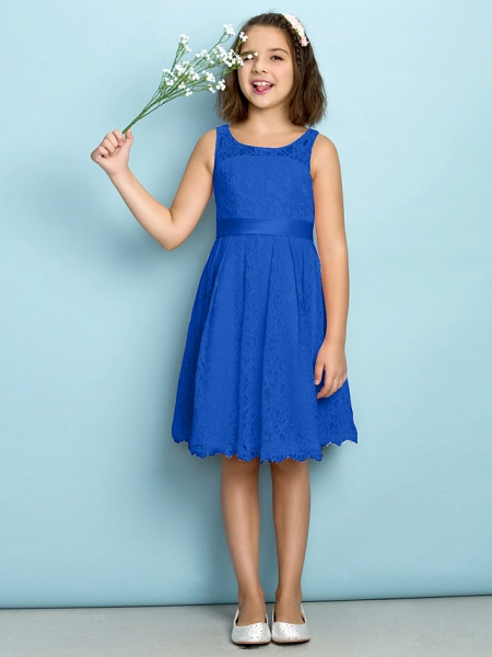 A-Line Scoop Neck Knee Length All Over Floral Lace Junior Bridesmaid Dress With Lace / Natural / Mini Me_32
