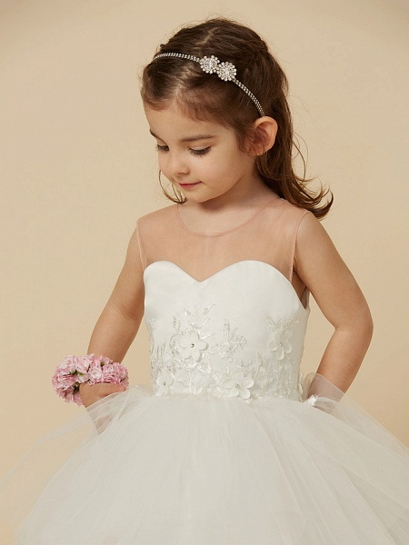Ball Gown Floor Length Wedding / First Communion Flower Girl Dresses - Satin / Tulle Sleeveless Illusion Neck With Buttons / Flower_6