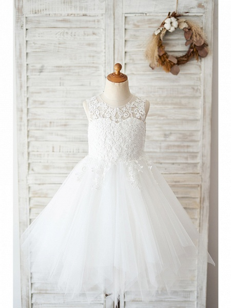 Ball Gown Knee Length Wedding / Birthday Flower Girl Dresses - Lace / Tulle Sleeveless Jewel Neck With Lace_1