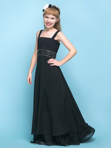 A-Line Straps Floor Length Chiffon Junior Bridesmaid Dress With Criss Cross / Ruched / Beading / Empire_3