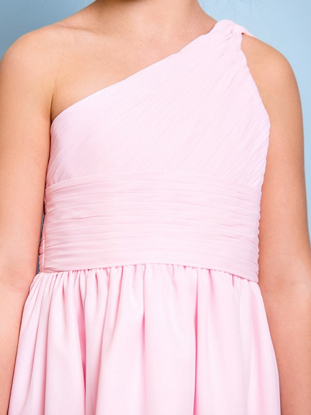 A-Line One Shoulder Knee Length Chiffon Junior Bridesmaid Dress With Ruched / Draping / Side Draping / Natural_6
